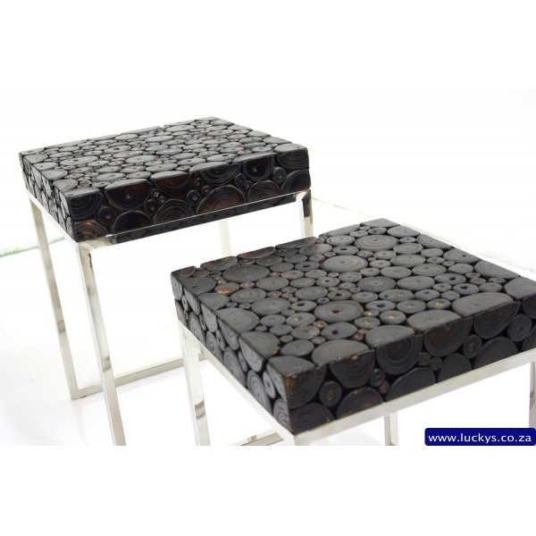 Surya Teak and Stainless Steel Side Table 2 Set