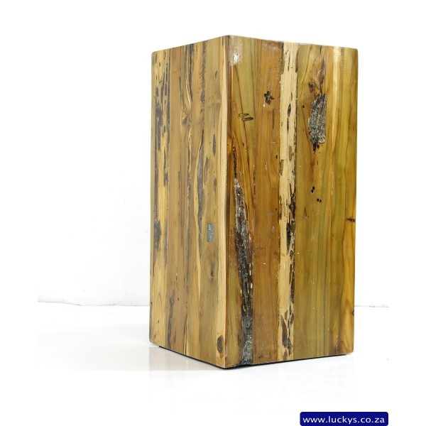 Square Wood and Resin Pedestal