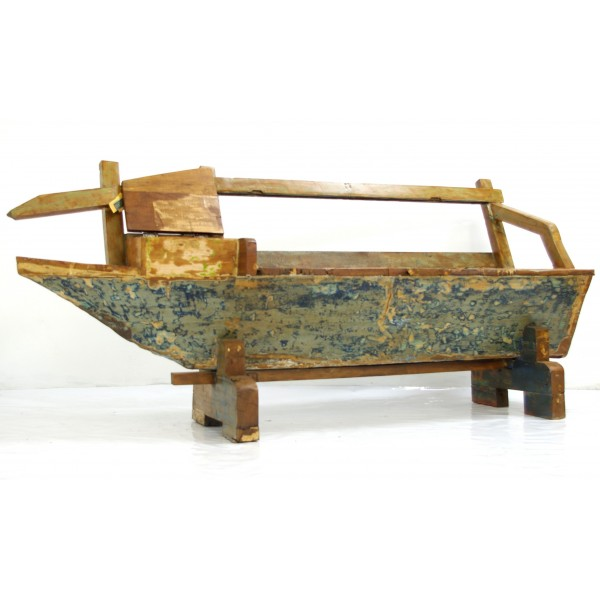 Reclaimed Wood Boat Bench with drawer